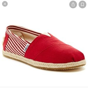 Toms Size 6 Red Stripped